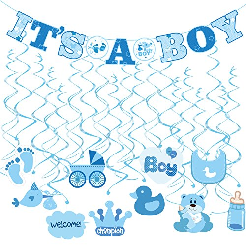 Tinksky 30pcs IT'S A BOY Banner Boy Baby Shower Dizzy Danglers Spiral Hanging Decoration for Parties (1Banner + 20Dizzy Danglers + 10Cards) (Decoration Baby Shower Boy)