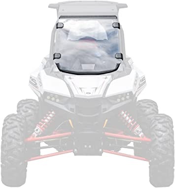 Installs in 5 Minutes! - 250X Stronger Than Glass 2018+ SuperATV Heavy Duty Clear Standard Half Windshield for Polaris RZR Turbo S