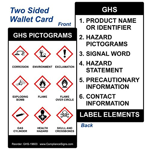 GHS Pictograms Wallet Card GHS Safety Sign, 3.5x2 in. 5-Pack Plastic for Hazmat by - Cards Pvc Brady