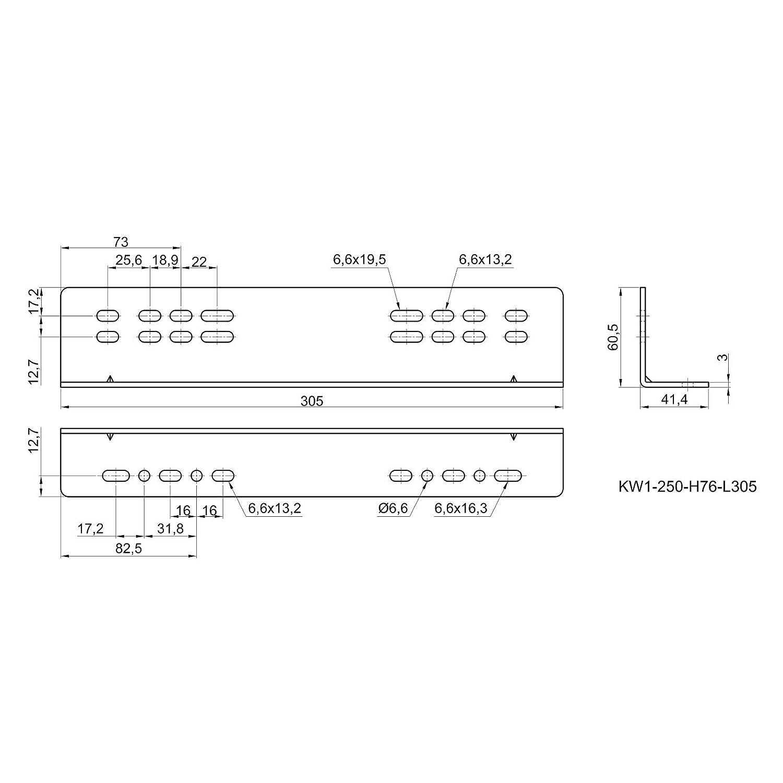 1 par Soporte de Montaje KW250H76 305 mm /Ángulo de Montaje para Montaje en el Piso y en el Lateral de las Gu/ías JUNKER para Uso Industrial KV250H76 y KV250H76L 12