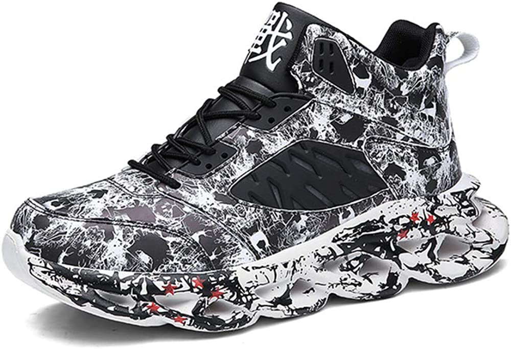 RZJF 2020 Mens Outdoor Sports Shoes Basketball Shoes Graffiti High-Top Casual Suitable for Playing Basketball Outdoor Sports