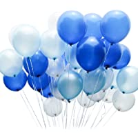 PuTwo Blue and White Balloons 100 pcs 12 inch Royal Blue Balloons Pale Blue Balloons White Balloons Blue Latex Balloons Party Balloons for Boys Christening, Boys Baby Shower, Boys 1st Birthday