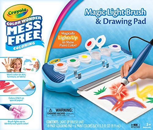 Crayola Color Wonder Magic Light Brush & Drawing Pad, Mess Free Coloring, Ages 3, 4, 5, 6, 7 - Color Wonder Finger Paint