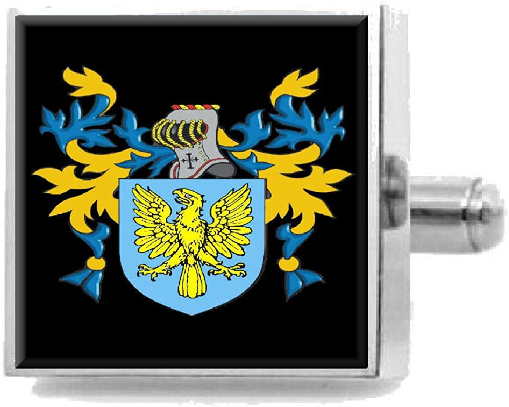 Select Gifts Shattuck England Family Crest Surname Coat Of Arms Cufflinks Personalised Case