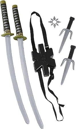 5 Pc Deluxe Ninja Kit Sword Nunchucks Dagger Fancy Dress Accessory