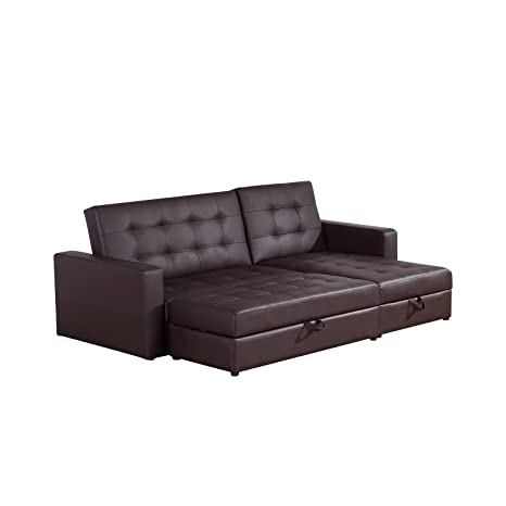 HOMCOM Deluxe Faux Leather Corner Sofa Bed Storage Sofabed Couch with  Ottoman New Brown