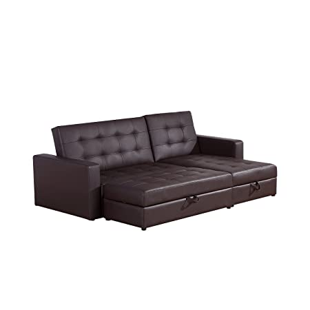 Elegant Homcom Deluxe Faux Leather Corner Sofa Bed Storage Sofabed Couch With  Ottoman New Brown