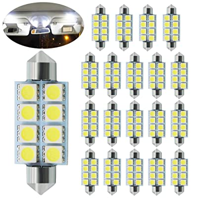BOODLED 20 PCS White 41MM / 42MM 5050 8 SMD Festoon Dome Map Interior LED Light Bulb 211-2 212-2 569 578 DC 12V (20x42mm-5050-8-W) (44mm): Automotive