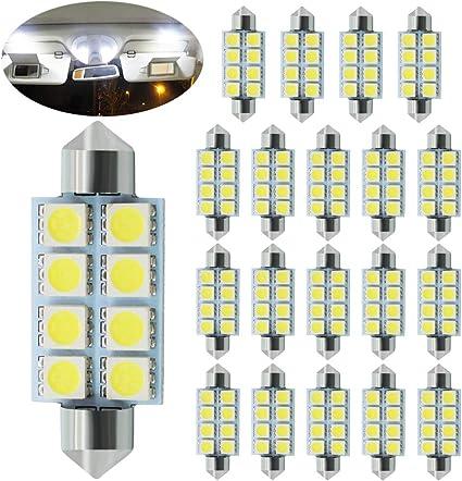 2 x White Car Interior Dome Festoon 5050 SMD 6 LED Number plate Light Bulb 42mm