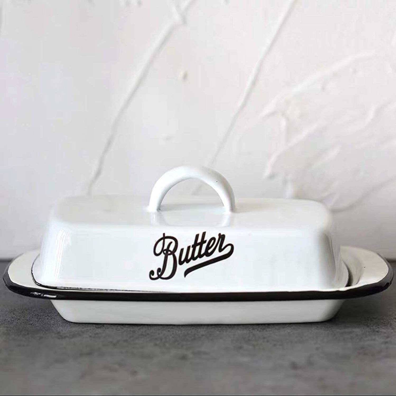 Color : Colour, Size : Size Reeseiy White Enamel Butter Dish With Lid Butter Plates Butter Dish Tray Dinnerware Sets Serving Tray Sale Home Daily Use Product