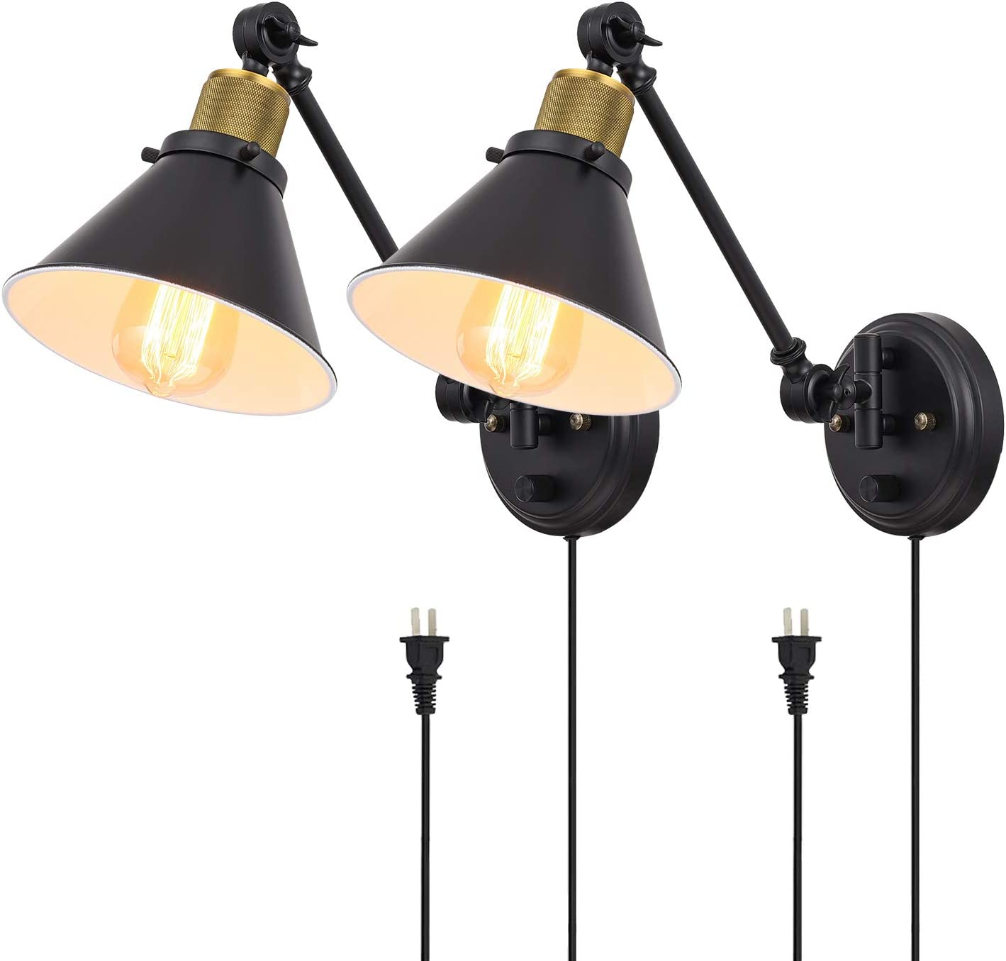 TRLIFE Plug in Wall Sconces Set of 2, Dimmable Swing Arm Wall Lights Plug in Wall Sconce with On/Off Switch, Wall Mounted Wall Sconce Lighting with 6FT Plug in Cord, E26 Base, UL Listed