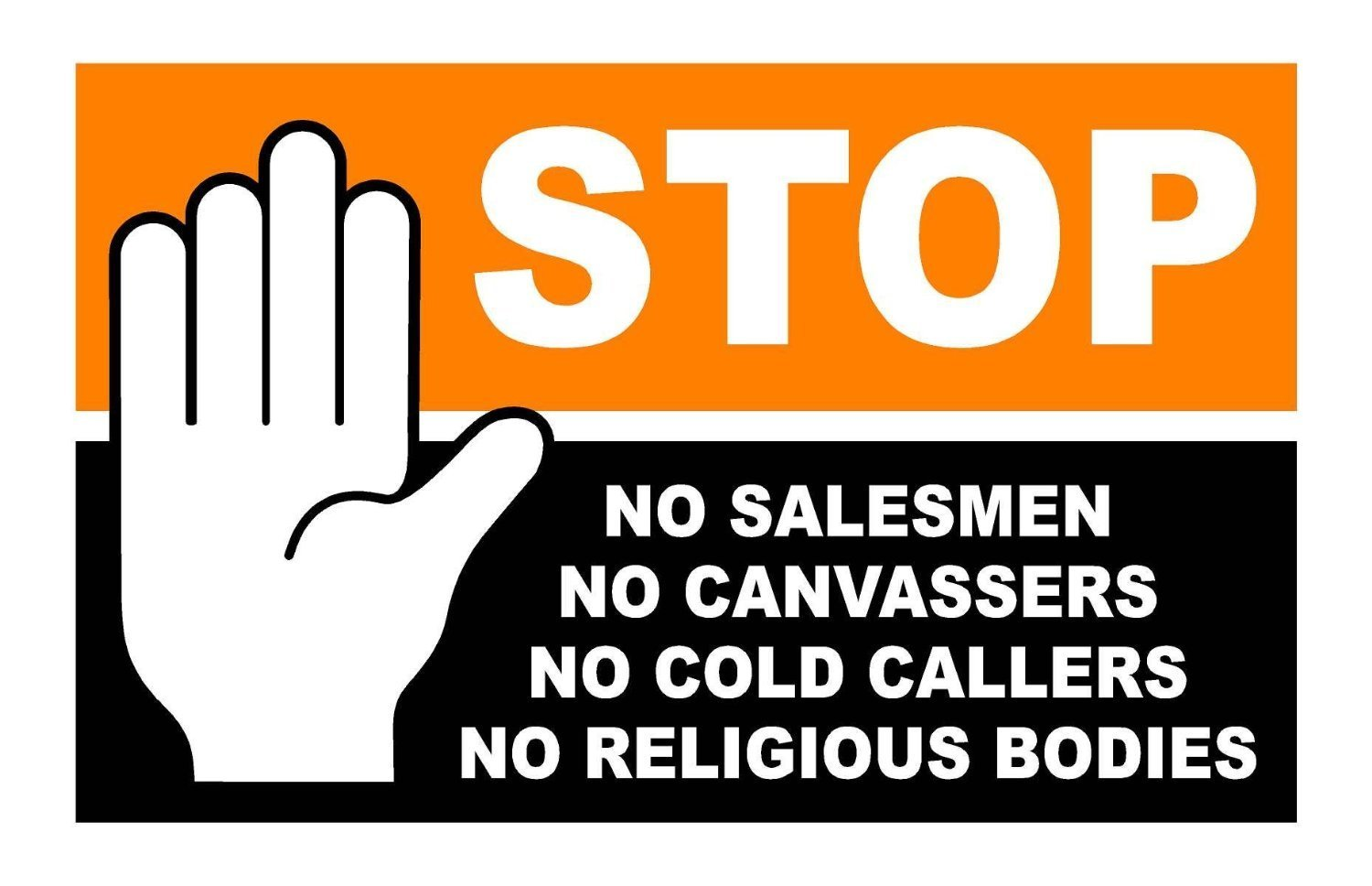 Stop Cold Calling Door Sticker No Canvassers Callers Religious Groups Sign