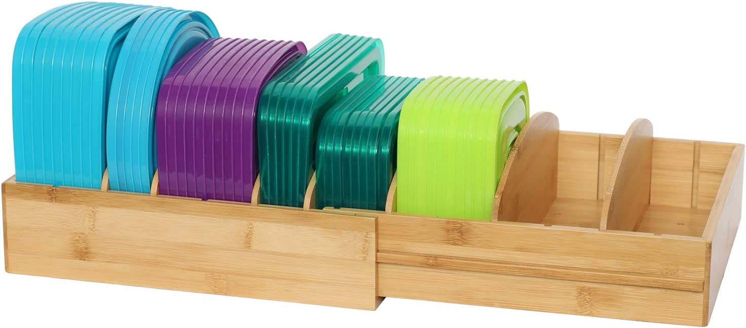 X-cosrack Expandable Bamboo Food Lid Rack with 8 Detachable Dividers, Food Container Covers Organizer for Drawers Cabinets Cupboards Pantry Shelves, Two Racks Part Can be Used Together or Separately