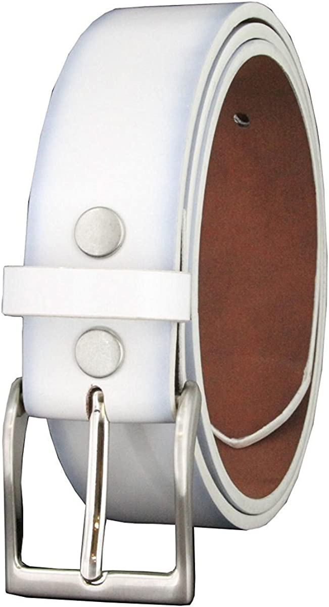 "Hagora Men 1.5/"" Wide Genuine Smooth Leather Silvered Roller Buckle Snap Belt"