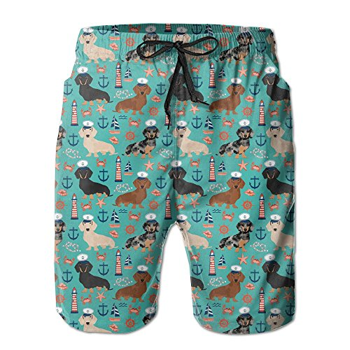 Victoria III Dachshund Sailors Nautical Dog Pattern Beachwear Board Shorts Swim (Sailor Suits For Men)