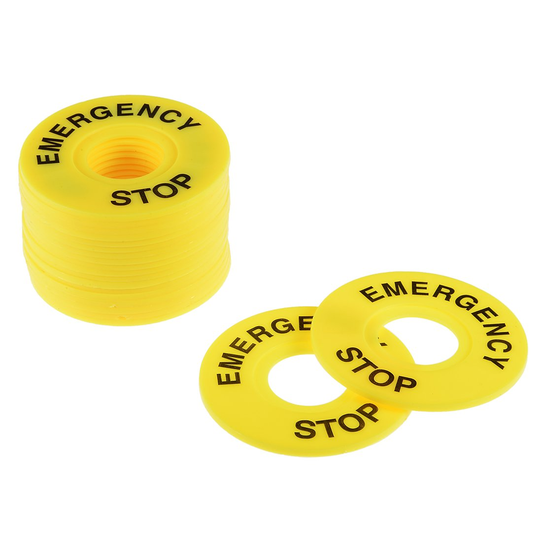 uxcell 20 Pcs 22mm Inner Diameter Emergency Stop Sign for Push Button Switch Replacement