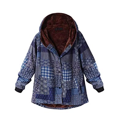 298241a3f89d3 Inverlee Womens Winter Warm Outwear Floral Print Hooded Pockets Vintage  Oversize Coats