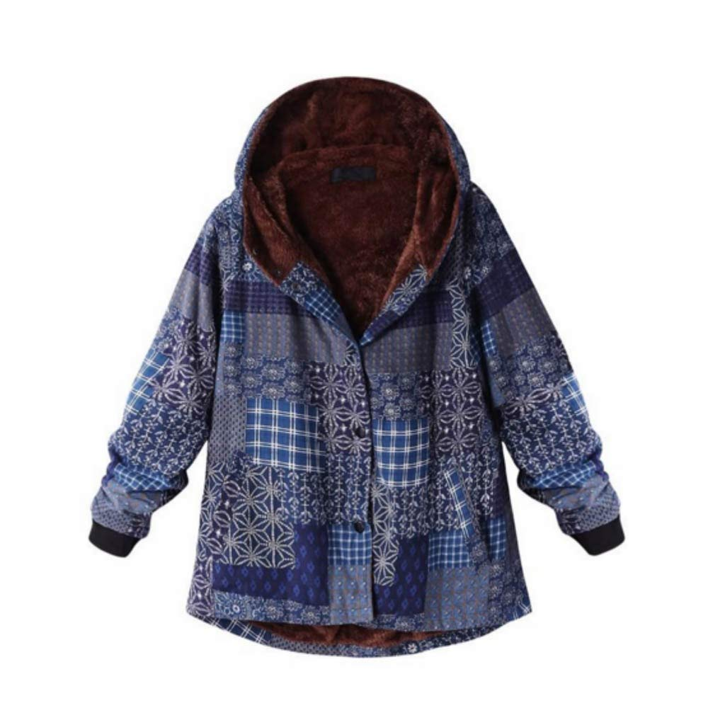 Ethnic Coat for Women, RNTOP Vintage Plus Size Hasp Hooded Coat Loose Winter Warm Printed Jacket for Winter (S, B)