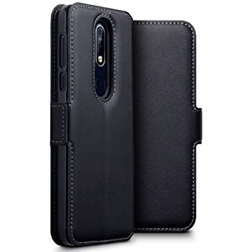 detailed look b2a8d 898c0 TERRAPIN, Compatible with Nokia 7.1 Case Slim Fit GENUINE LEATHER Wallet  Flip Cover - Black