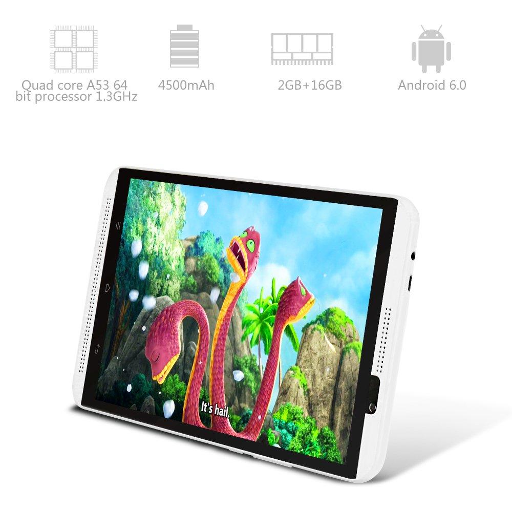 Yuntab H8 8 Inch A53 64bit CPU,1.3Ghz Quad Core Android 6.0,Unlocked Smartphone Phablet Tablet PC,2G+16G,HD 800x1280,Dual Camera 2M+5M,IPS,WiFi,P-Sensor,G-Sensor,GPS,Support 2G/3G/4G(White) by Yuntab (Image #3)