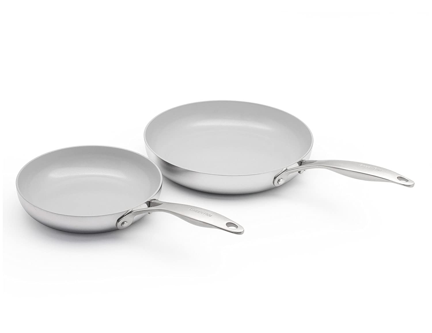 GreenPan CC000016-001 Venice Pro Stainless Steel 100% Toxin-Free Healthy Ceramic Nonstick Metal Utensil/Dishwasher/Oven Safe 8 & 10-Inch Frypan Set, 2-Piece, Light Grey