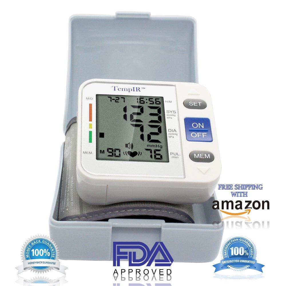 Tensiometros Muñeca Monitor de Presión Arterial Digital con Detector de Ritmo Cardíaco, Tensiometro Electrónicos, Gran Pantalla LCD de Irregular Indicador ...