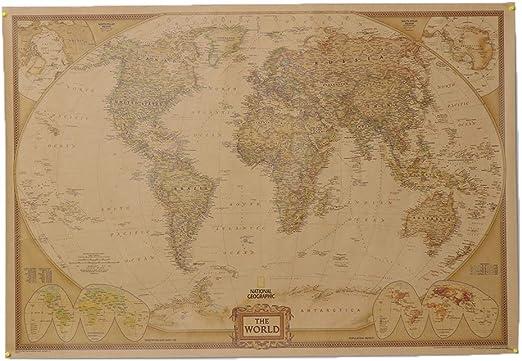 Mapa Del Mundo Cartel Vintage Etiqueta De La Pared Grande Retro Papel De Impresión Home Office Decor: Amazon.es: Amazon.es