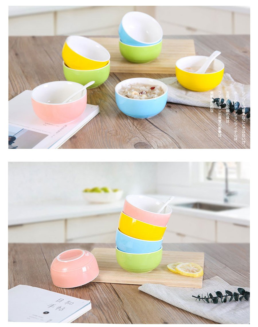 Lovely Instant Noodles Bowls Household Restaurant Use Ceramic Mixing Bowls Food Container Tableware Soup Bowl Kangsanli (green)