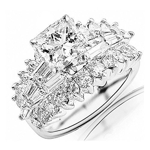 2.65 Ctw 14K White Gold GIA Certified Princess Cut Exquisite Prong Set Baguette And Round Diamond Engagement Ring, 0.5 Ct I-J VVS1-VVS2 (Baguette Round Jewelry Set)