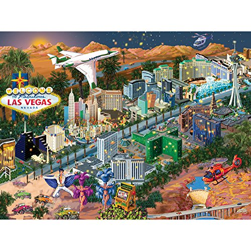 Bits and Pieces - 300 Piece Jigsaw Puzzle for Adults - Las Vegas City View - 300 pc The Strip Jigsaw by Artist Joseph Burgess