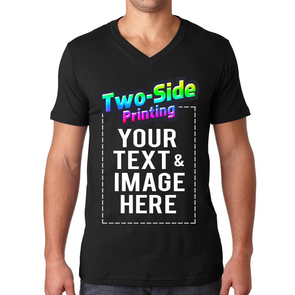 1429b7e7 Amazon.com: Custom Men's V Neck T Shirts Design Your Own Add Text or  Picture Printed Personalized Tee: Clothing