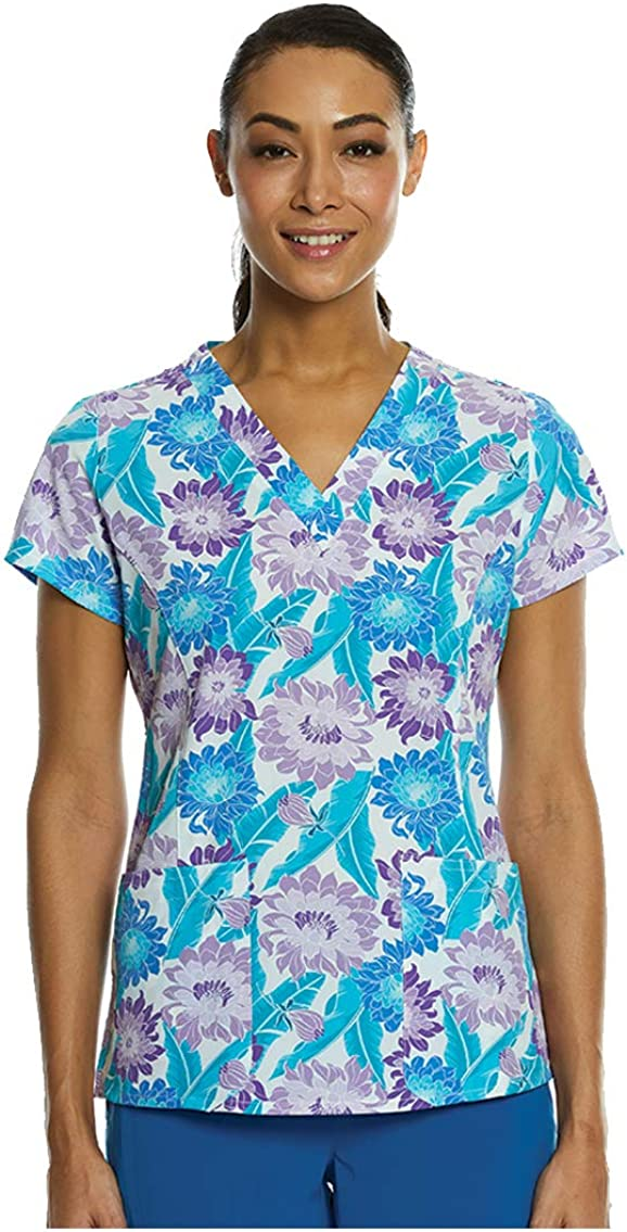 Maevn Womens Curved V-Neck Print Top