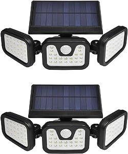 Viugreum 2 Pack Solar Security Light Outdoor, 74 Led 50W 5000LM Solar Motion Sensor Lights with 3 Adjustable Heads, 6000K Daylight White IP67 Waterproof Outdoor Flood Lighting for Garden, Garage