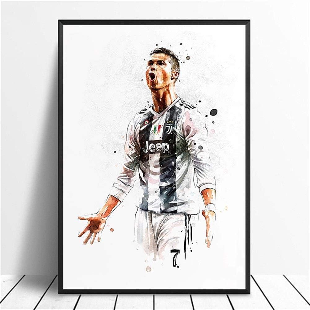 UIOLK Fu/ßballstar Cristiano Ronaldo Retro-Poster Leinwandbilder Spieler Leinwand Studio Wandkunst Bild Hauptdekoration