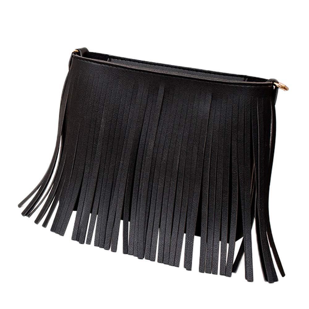 MaxFox Women Retro Shoulder Bag Tassel Leather Square Messenger Satchel Crossbody Tote Handbag for Cell Phone &Coin (Black) by MaxFox (Image #1)