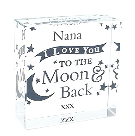 nana i love you to the moon and back large crystal ornament gifts