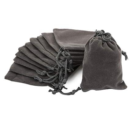 Shintop - 10 bolsas de terciopelo con cordón, bolsas de terciopelo para joyería, envoltorio de regalo, color gris, tamaño 3.54 x 2.75
