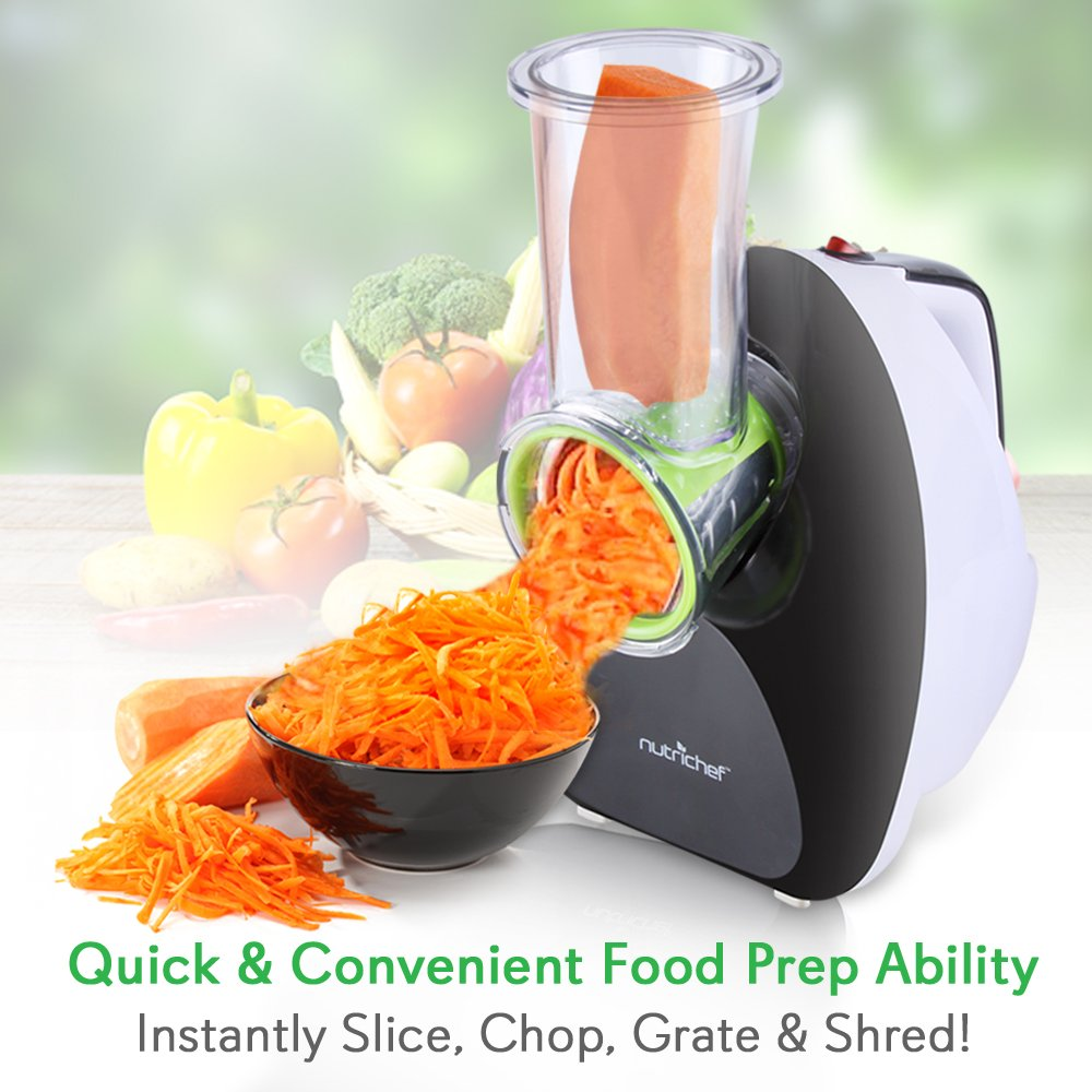 NutriChef Upgraded Countertop Salad Maker - Vegetable Slicer, Electronic Shredder, Stain Resistant & Easy One-Touch Control, Slices or Shreds Vegetables, Fruits, Cheese & More (PKELS70)