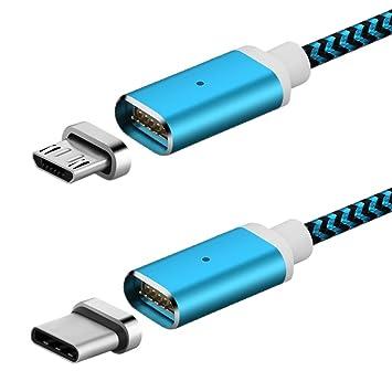 Cable USB tipo C magnético + Cable micro USB magnético, cable de carga trenzada con