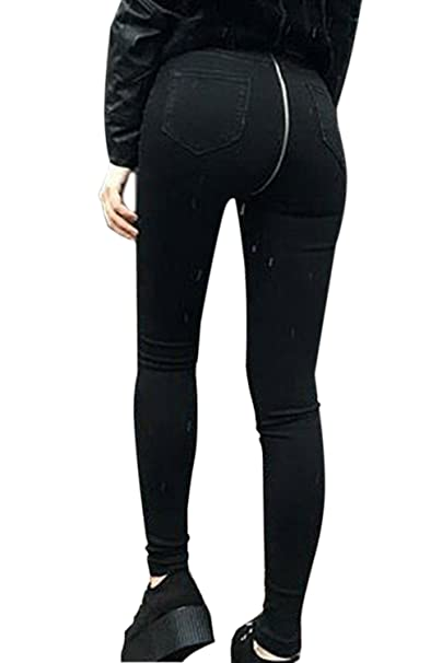 La Mujer Casual Jeans Cremallera Trasera Stretchy Skinny ...