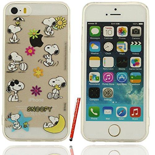 Klar modisches Design in verschiedenen Farben Stilvolle Cool Cartoon snoopy Tag Serie Hartplastik Case Schutzhülle für Apple iPhone 5 5S 5G Hülle mit Touch-Screen-Stift