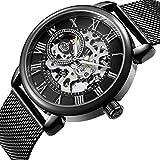 Sweetbless Wristwatch Men's Royal Classic Roman Index Hand-Wind Mechanical Watch (Black-Black)