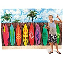 Plastic Surf's up Surfboard Backdrop Banner Photo Prop
