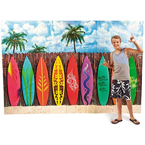 Plastic Surf's up Surfboard Backdrop Banner Photo Prop by Fun Express