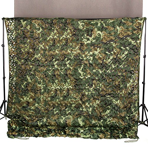 Ginsco 6.5ft x 10ft 2mx3m Woodland Camouflage Netting Desert Camo Net for Camping Military Hunting Shooting Blind Watching Hide Party Decorations
