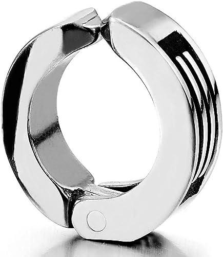 Homme Femme Argent Noir Clip-on Anneau Boucle doreille Charni/ère avec Rainur/ée Rayures Non-Piercing Cr/éoles Acier