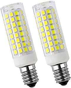 E14 LED Light Bulbs Improved Version 7W Equivalent 70W Incandescent Bulb, E14 European Base Bulb,Replacement Oven, Cooker Hood Bulbs 90-2835-SMD LED Chipsets- AC110V-130V 2pcs (Day Light White 6000K)