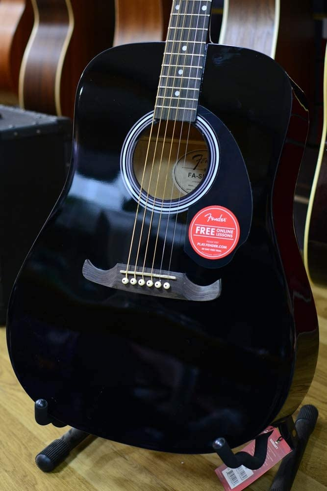 Fender FA-125 Dreadnought - Guitarra acústica, color negro: Amazon ...
