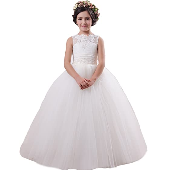 Amazon.com: Fancy Lace Pageant Ball Gowns Girls First Communion ...