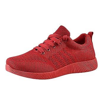Mujer zapatos deportes Antideslizante,Sonnena Zapatos de mujer volando tejido Zapatos Casuals Color caramelo Zapatos para correr para estudiantes: ...